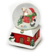 К2047XL Шар новогодний с снегом 10*10*14см