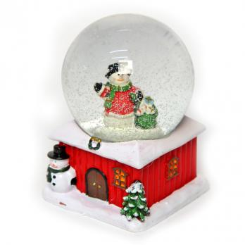 К2047L Шар новогодний с снегом 7,5*11*7,5см