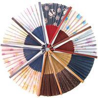25032 (10) Веер цветная ткань 21см