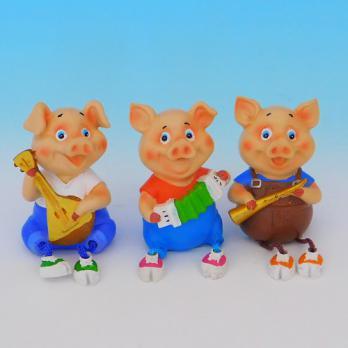 MY-15163(6) Свинья-музыкант, полистоун, 5*4,5*13см