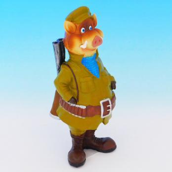 MY-15162 (32)  Свинья-охотник, полистоун 8*9*22см