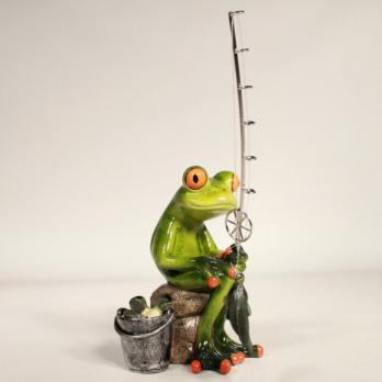 HOL21239 (2-24) Лягушка на рыбалке 14.5*7.8*15 см
