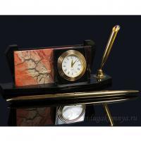 3301551 п (30409)Часы-визит.яшма,долерит15*5*6