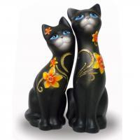 298-Фигурка интерьерн.Кошка черная, 23см