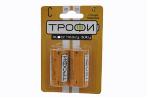 Бат.ТРОФИ R14-2BL блистер