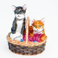 BP-25261 Шкатулка Коты со страз.15*11*15см