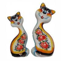 1058 Коты цветные гжель 18см