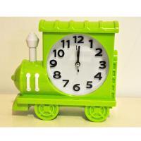 212-1 Паровозик зелен с часами-будильником 18*16см
