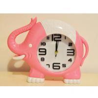 219-1 Слоник(роз) с часами-будильником 21*17см