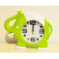 219-2 Слоник(зелен) с часами-будильником 21*17см