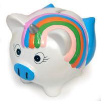 К1792 Копилка Свинка с радугой керамика 14*9*6см