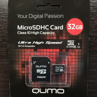 QUMO Micro SDHC 32 Gb Class 10 + adapt  UHS-1 3.0