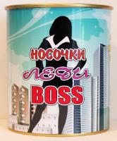 Носочки в банке женские «Леди BOSS» 9,5 см х 7,8 см.