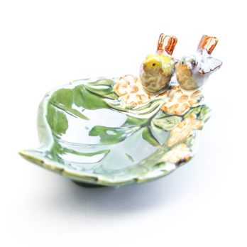К8633 Тарелка декоративная с птичкой 17*11 см (керамика)