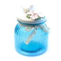 К8608-2 Банка для сыпучих продуктов 15*11*11см (стекло+керамика)