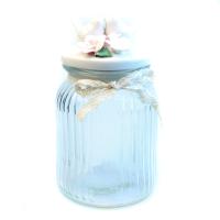 К8608-8 Банка для сыпучих продуктов 19*11*11см (стекло+керамика)