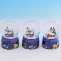 HY-15701/1  Стеклянный шар с домиком, на фарфор. подставке, 3вида D=4,5см, H=7см