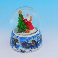 HY-15736  Стеклянный шар с Дедом Морозом, на фарфоровой подставке D=6,5см, H=9см