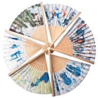 25080 (10) Веер цветная ткань 21см