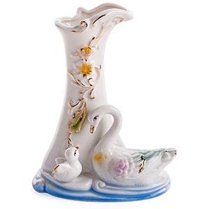 15818 Ваза Лебеди фарфор 10*13см