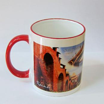 Кружка керамика/белый-красный/NN 17