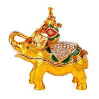 36195 Шкатулка со страз.Слон со слоненком