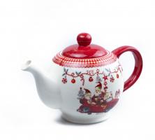 К9252 чайник заварочный Новогодний (керамика) 24 см 1 л
