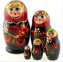 MS0502rojY-01 Матрёшка 5 мест сувенирка маленькая ягоды красно -черная
