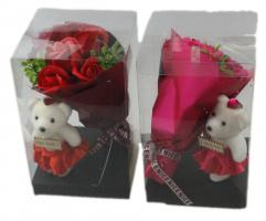 Х55(6)Набор парфюмированные розы с мишкой 22*14*14см