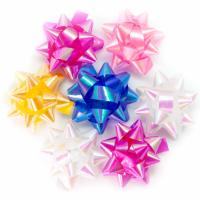 Бант-звезда 2,5 см на липучке перламутр