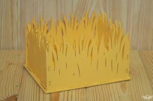 ПУ181-02-1616 Подарочная упаковка с травой (17,5*15*12) МДФ 3мм, окрашен., Желтый, 1 шт.