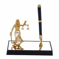 M-U-4832-17H3/CG (24) 16*6*20см. Ручка на подставке с Фемидой, с 5 хрусталиками позолоченная