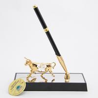 M-U-4979-17H3/CG (24) Ручка на подставке с лошадью, с 2 прозрачными хрусталиками