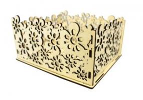 ПУ174-00-0000Подарочная упаковка с цветами (17,5*15*8) Фанера 3мм, неокраш. 1 шт.
