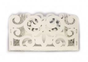 ПУ178-02-0303Подарочная упаковка с вензелями (17,5*15*9) МДФ 3мм, окрашен., Белый, 1 шт.