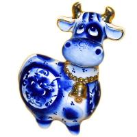 Статуэтка корова с позолотой 10 см., 2828
