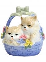 К30138 Фарфоровая композиция Кошки в лукошке 13 см