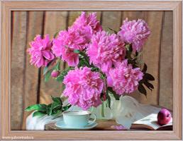 Картина 5D 30х40 196 Букет розовых пионов / ZR8210H-222411 /  с бабочкой